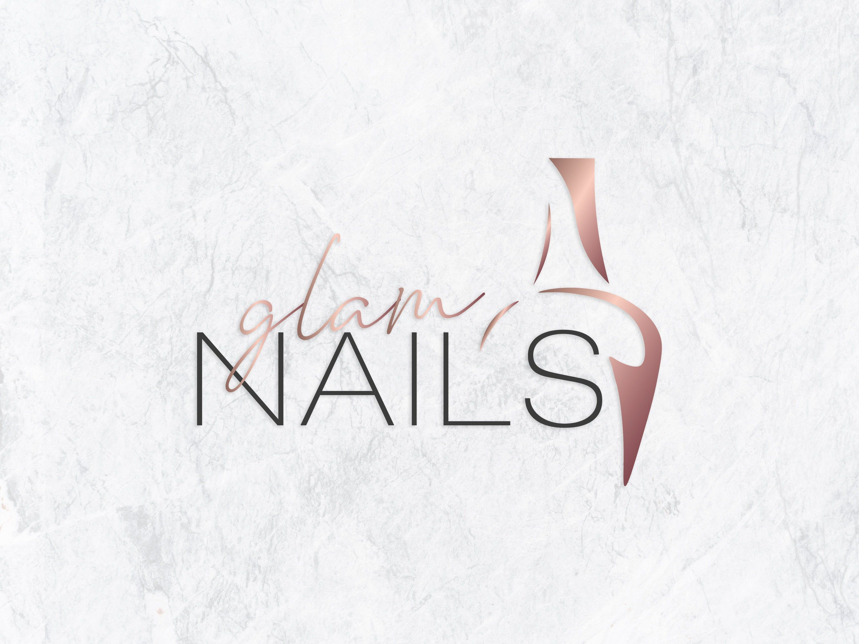 Glam nails logo design nail studio logo nail artist logo