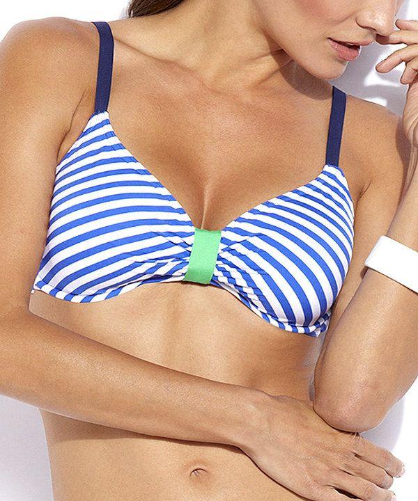 6c7906ac0030e8 Look at this Jag Swim Marine Blue Stripe Bikini Top on #zulily today ...