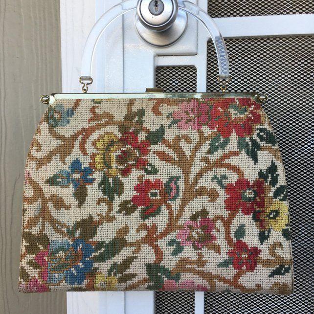 Vtg 1960s Needlepoint Carpet Tapestry Bag Purse Handbag Tote