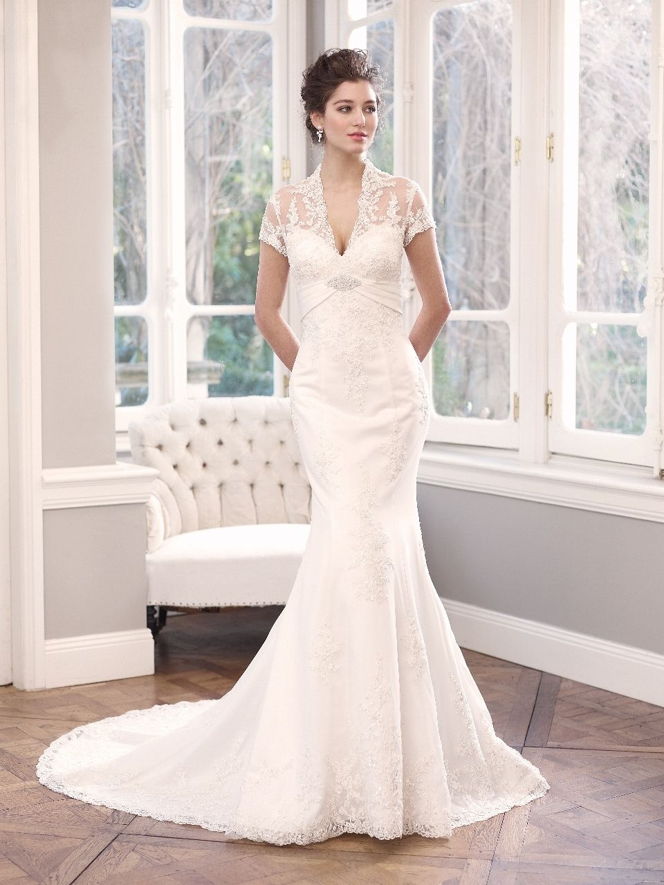 Wedding dress with collar  Luv Bridal  MZ Lace Wedding Dress with Scalloped Collar
