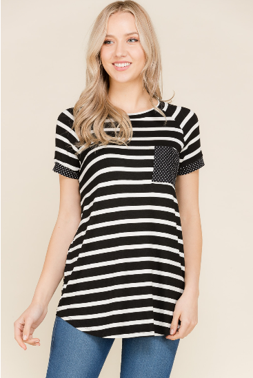 056752edc13 Black and white striped tunic with polka dots on pocket and sleeve band. S  - XL
