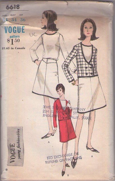 MOMSPatterns Vintage Sewing Patterns - Vogue 6618 Vintage 60's Sewing Pattern SMART Young Fashionables Mod Scoop Neck Low Cut Double Breasted Blazer Suit Jacket, Yoked A-Line Skirt & Trimmed Blouse Size 14