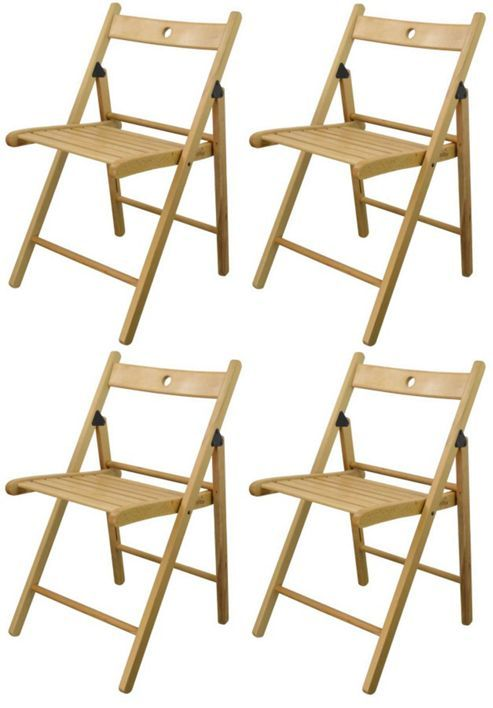 Harbour Housewares Wooden Folding Chairs - Natural Wood Colour ...