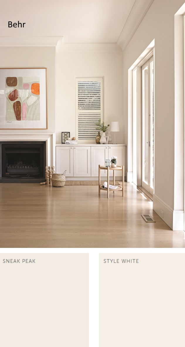 Behr Sneak Peak and Style White. Neutral Paint Colors 2020