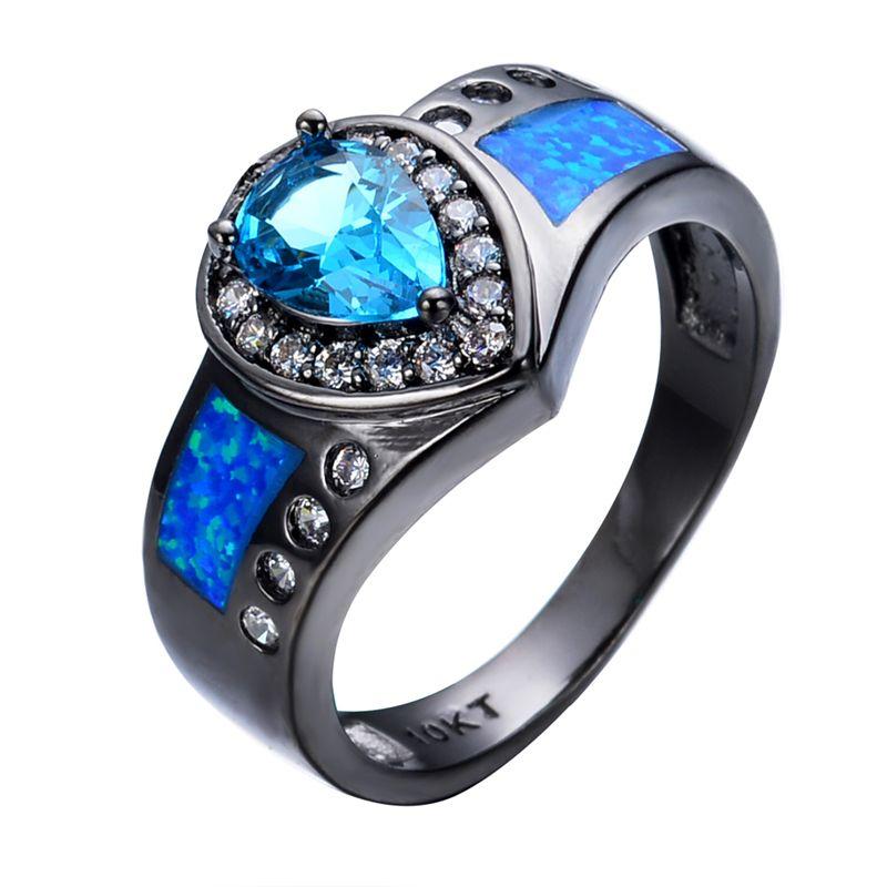 Ocean Blue Fire Opal Stone Ring Heart Aquamarine Sapphire Women Men