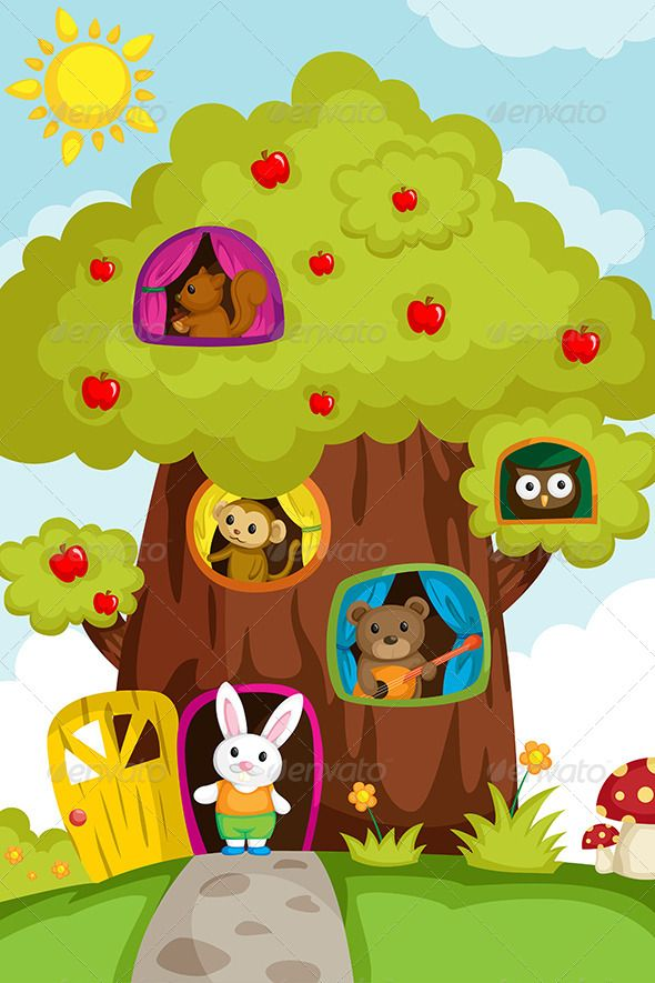 Animals In A Treehouse Illustration Crafts Sewing Projects Vector Illustration