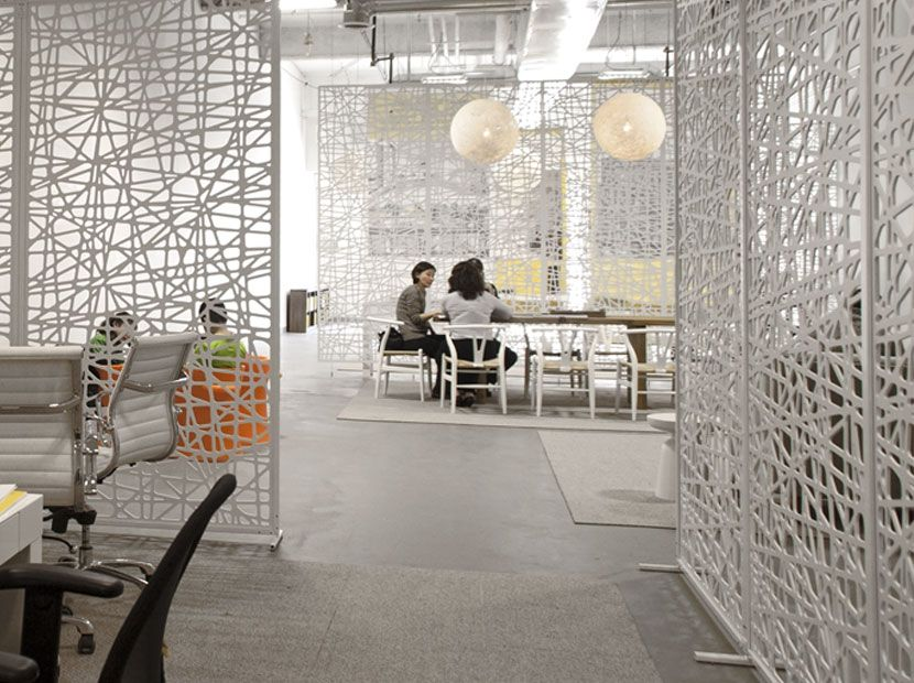 architectural room dividers. Architectural Room Divider Design With Net Pattern Ideas White Color  Steel Legs Material Grey Floor And Squared Area Rug Furthermore Razortooth Suspended Dividers Modular Partition Systems