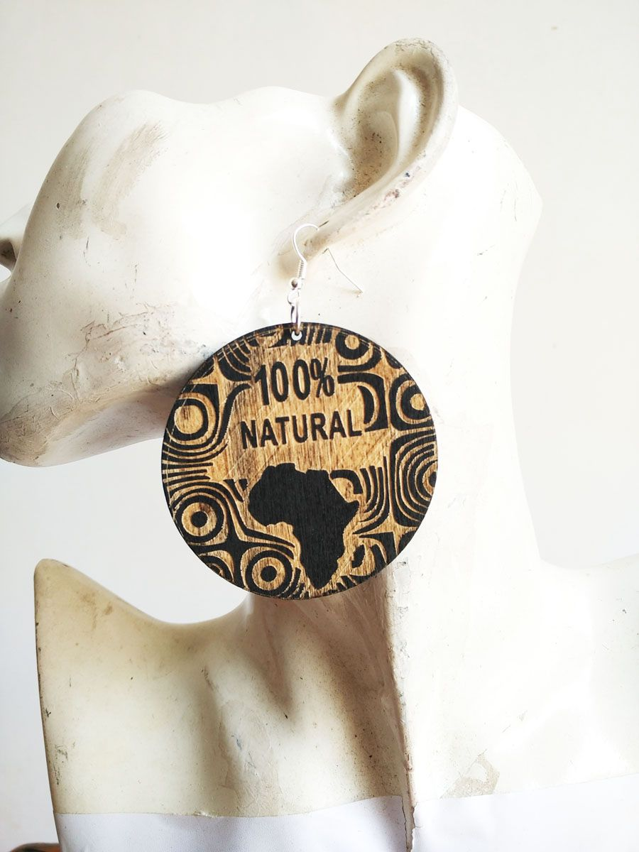 100 Natural Wooden Laser Cut African Map Earrings Price 988