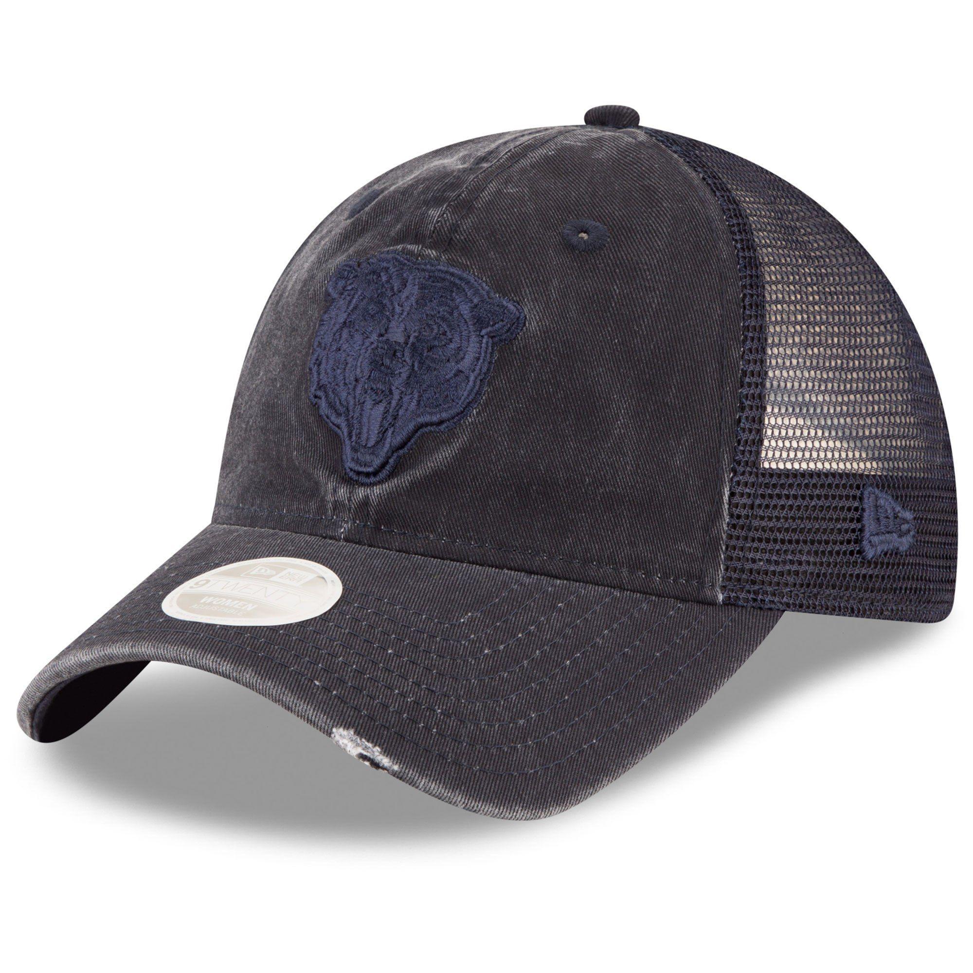 Women s Chicago Bears New Era Navy Tonal Washed Trucker 9TWENTY Adjustable  Hat 269af1776