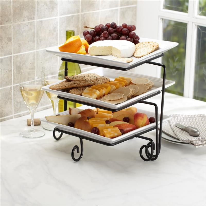 Ksp Strata Ceramic Buffet Plate Square 3 Tier White Kitchen Stuff Plus Buffet Plate Cocktail Party Appetizers
