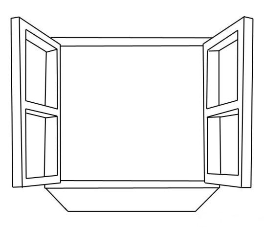 Window coloring pages for kids clipart f r abs for for Window coloring page
