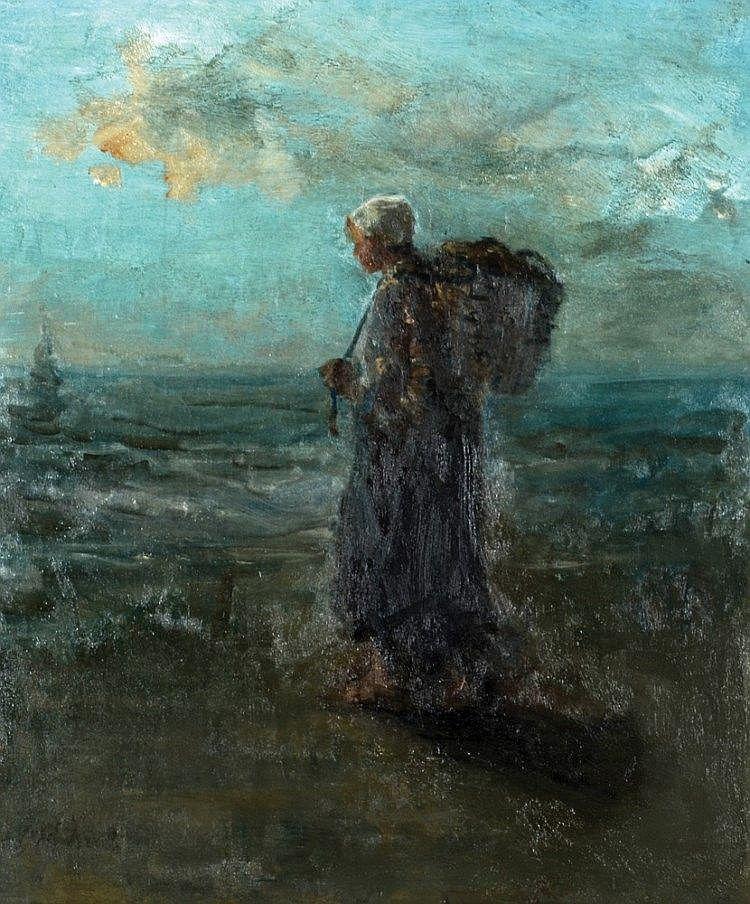 Jozef Israëls - Vissersmeisje bij de vloedlijn