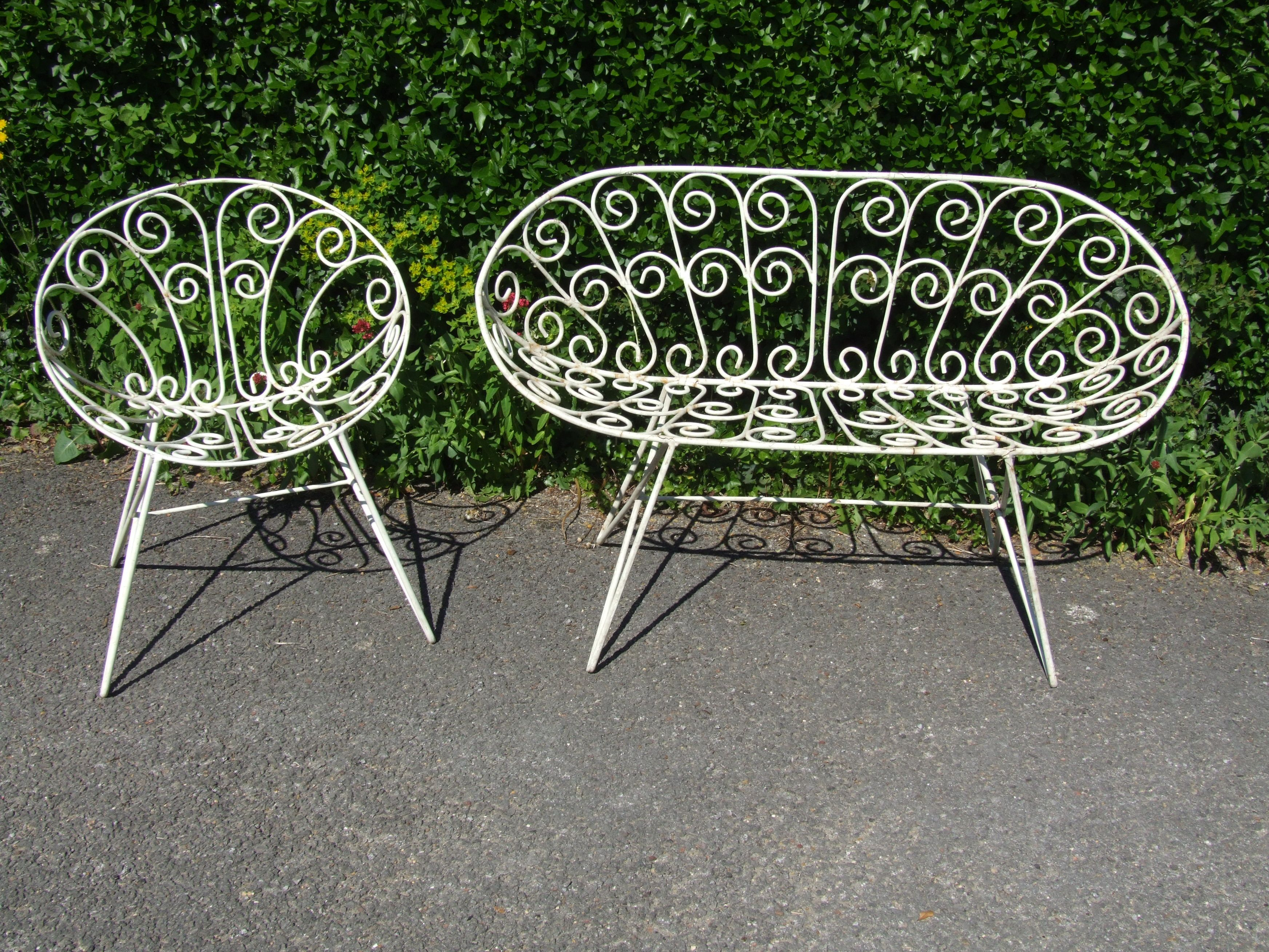 Iron Garden Furniture Vintage g174 - vintage french 1960's wrought iron garden chair and bench
