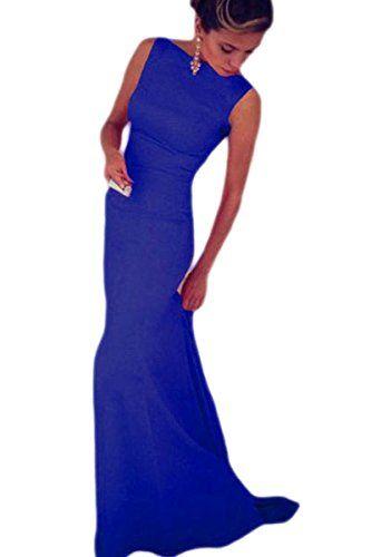 7e76a8879a1a Toocool - Vestito lungo donna elegante abito cerimonia party strascico  nuovo DL-1389[Blu Elettrico,M]