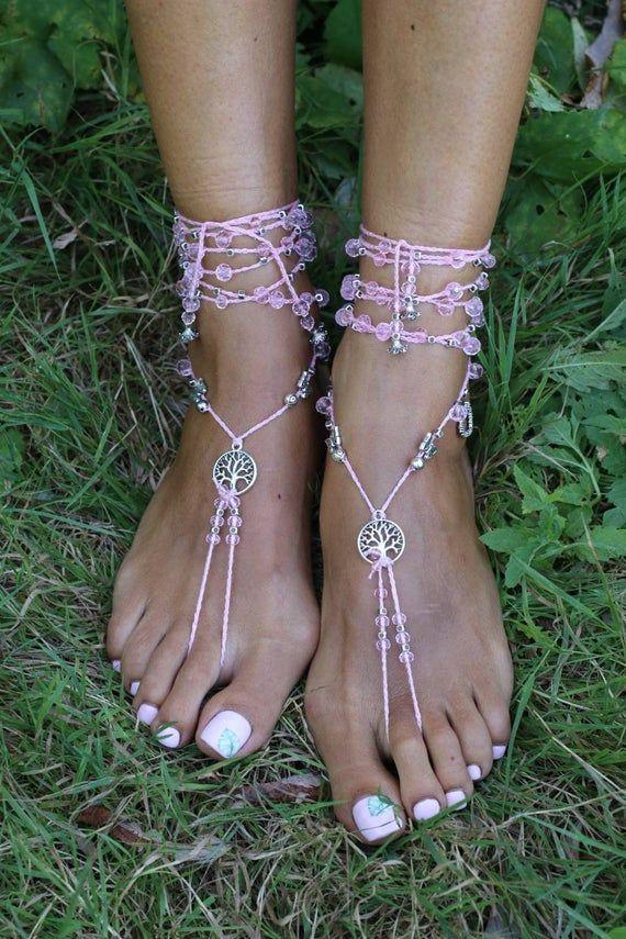 Photo of Barefoot sandals beach wedding foot jewelry boho bracelet cr…