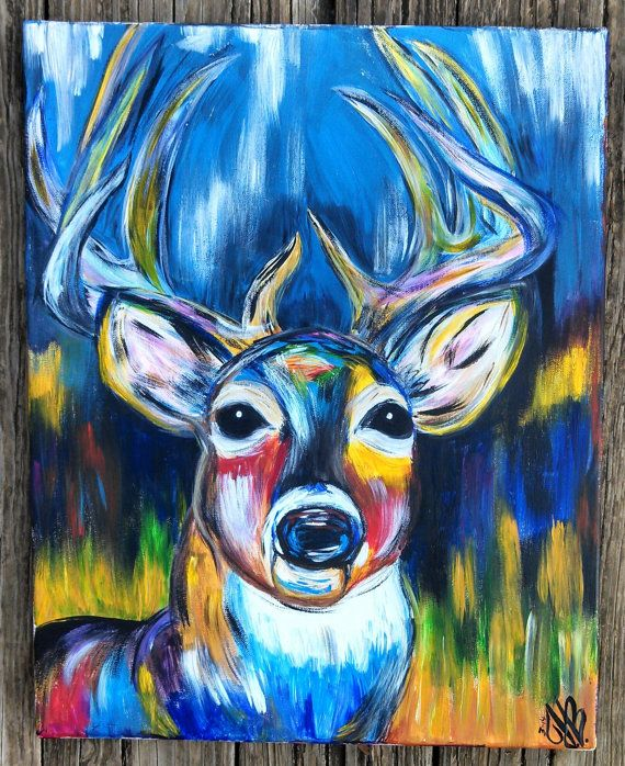 Original colorful acrylic canvas deer painting by for Easy acrylic animal paintings