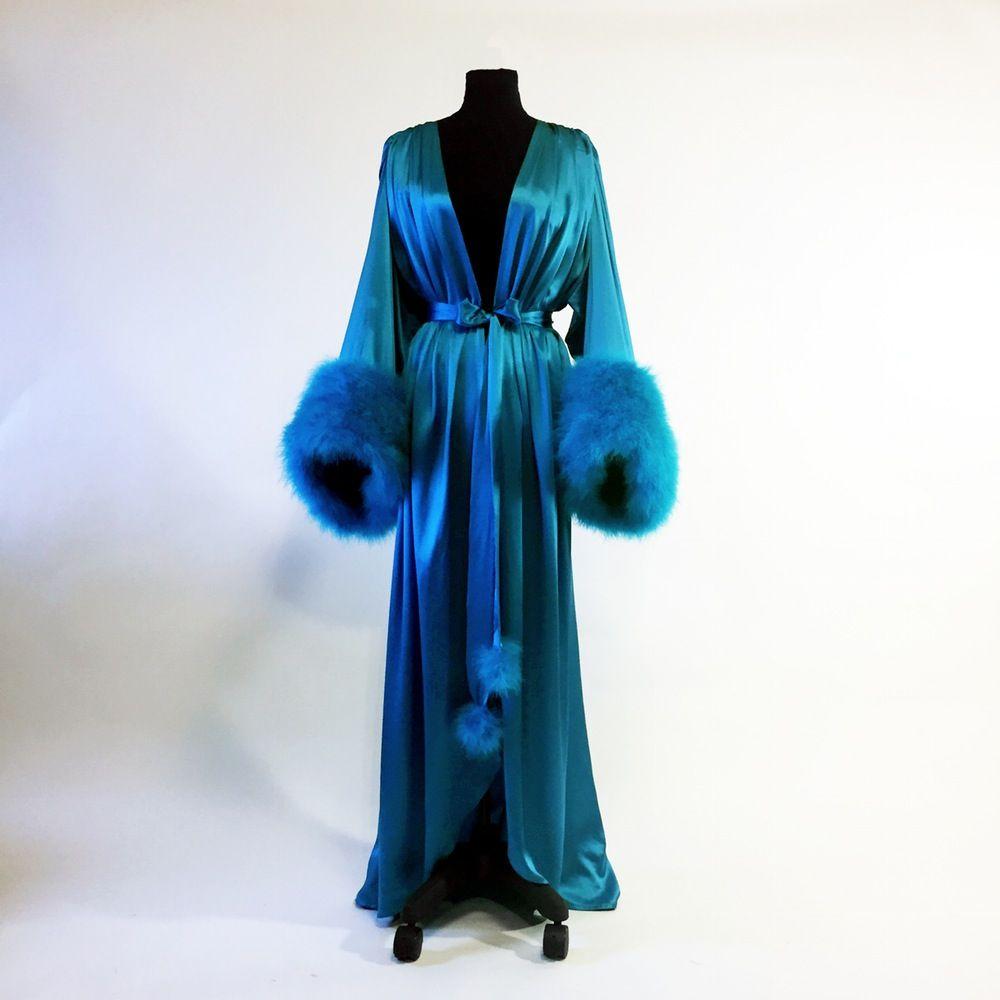 Silk Charmeuse (Silk Lined) Dressing Gown w  Marabou Cuffs ... 30498a27f