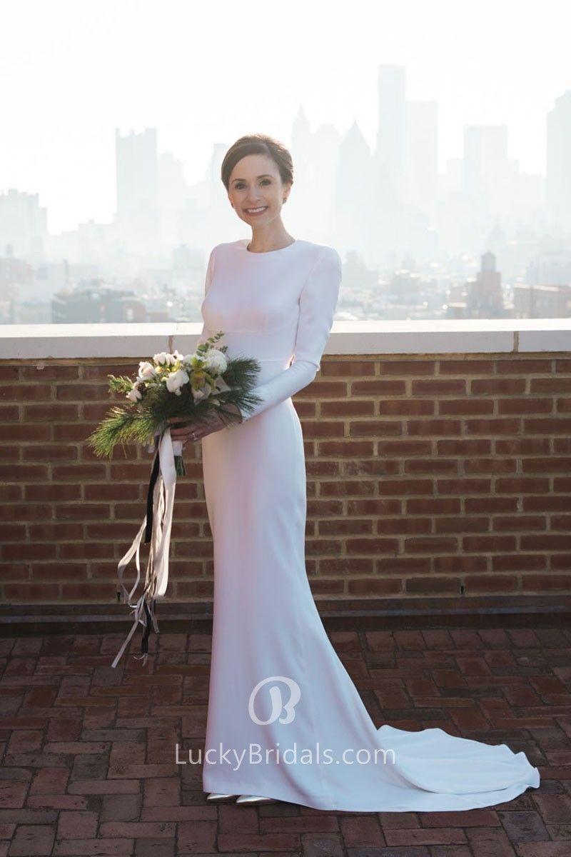 ec2df447a32 This elegant crew neckline white spandex wedding dress features  figure-flattering silhouette of mermaid