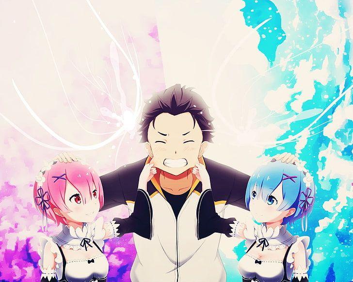 HD wallpaper: two woman with blue and pink hair anime characters, Re:Zero Kara Hajimeru Isekai Seikatsu