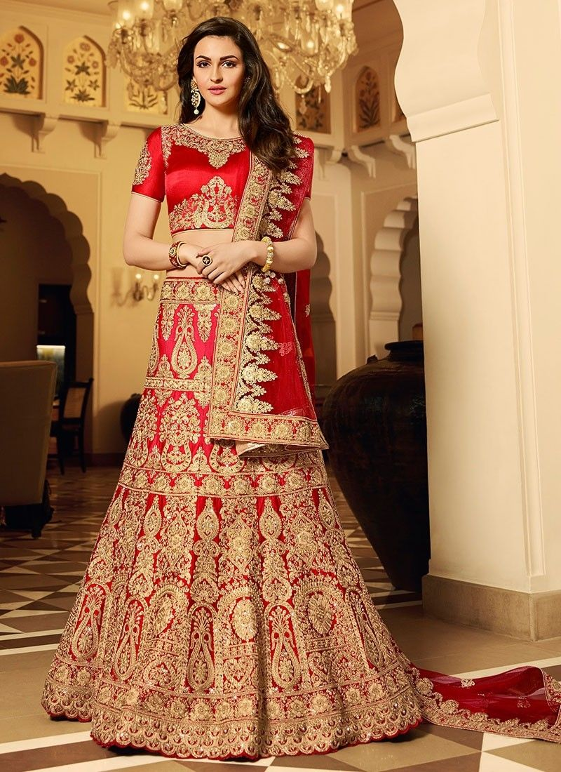 f63346d11c Red Art Dupion Silk Circular Lehenga With Embroidered, Stones Works. Order  #CircularLehengaOnline