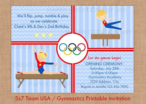 Gymnastics Printable Birthday Invitation