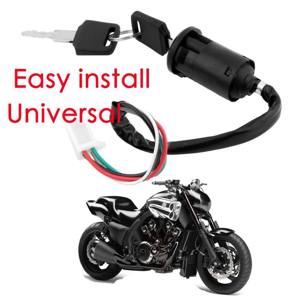 Ignition Key Switch Lock 4 Wires Bike Atv Quad Go Kart Motard Motor Suzuki Wiring Moped Buggy Scooters For Yamaha Kawasaki