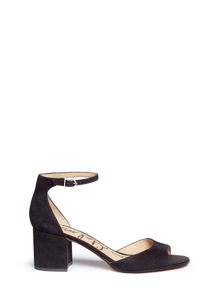 505fafecf35 SAM EDELMAN  Susie  Block Heel Ankle Strap Suede Sandals.  samedelman   shoes  sandals
