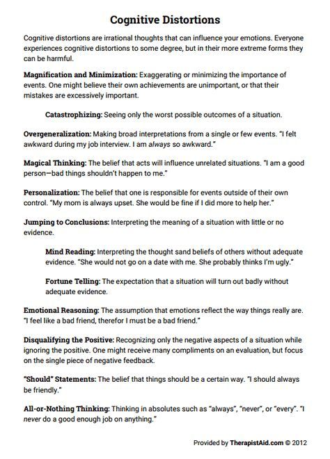 Cognitive Distortions (Worksheet | Group Therapy Ideas