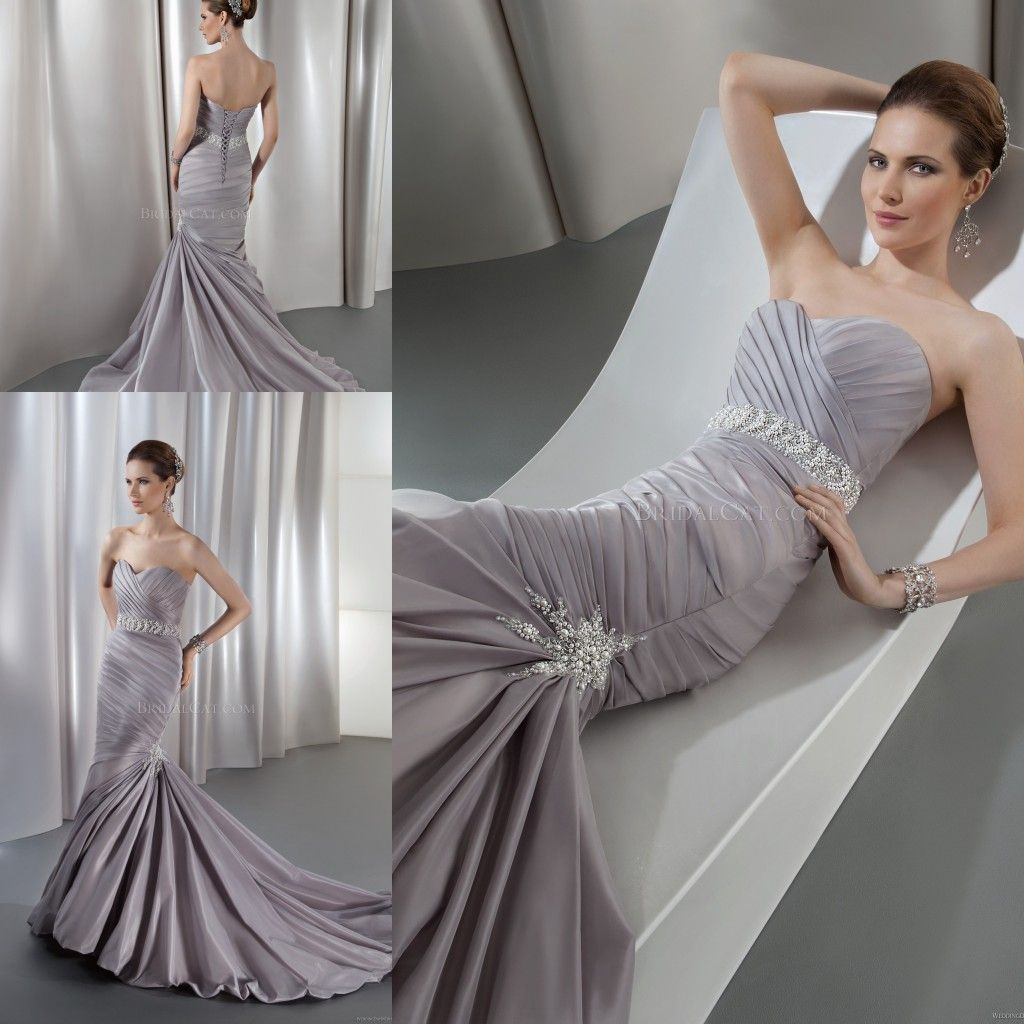 Nice Silver Plus Size Wedding Dresses Pearls Rhinestone Beaded Waist Mermaid Silver Grey