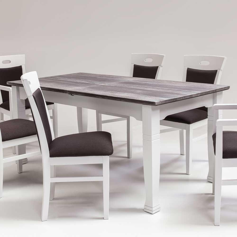 Esszimmer weiß grau  Ausziehtisch aus Fichte Weiß Grau Jetzt bestellen unter: https ...