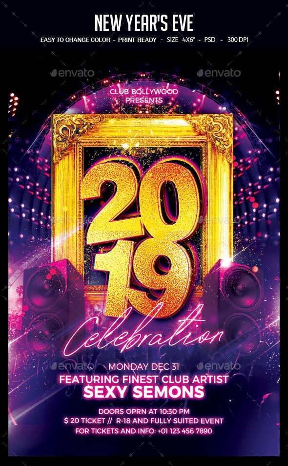 New Year's Eve New years eve party, Birthday flyer