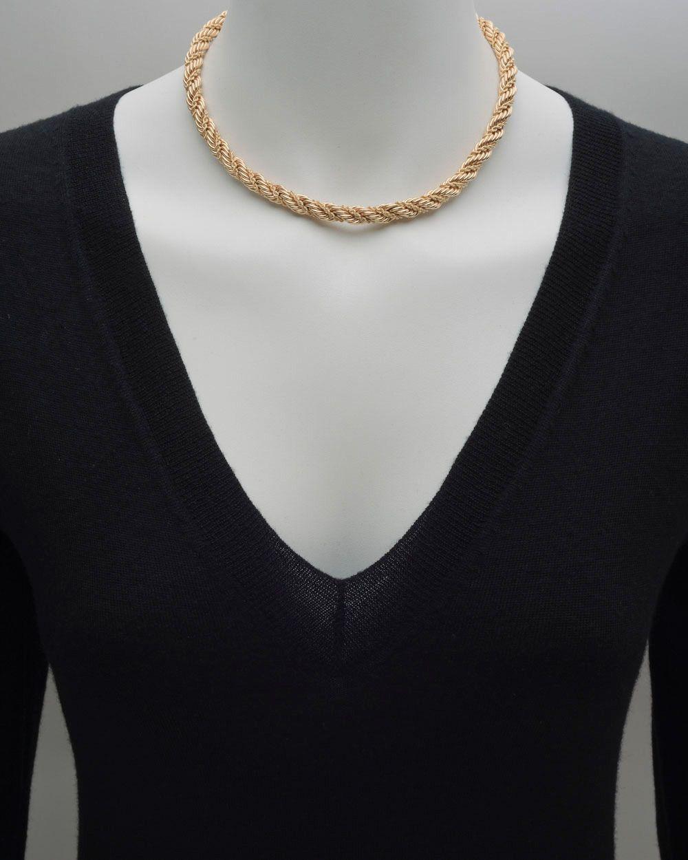 Tiffany & Co. Gold Woven Rope-Twist Necklace | From a unique collection of vintage rope necklaces at https://www.1stdibs.com/jewelry/necklaces/rope-necklaces/