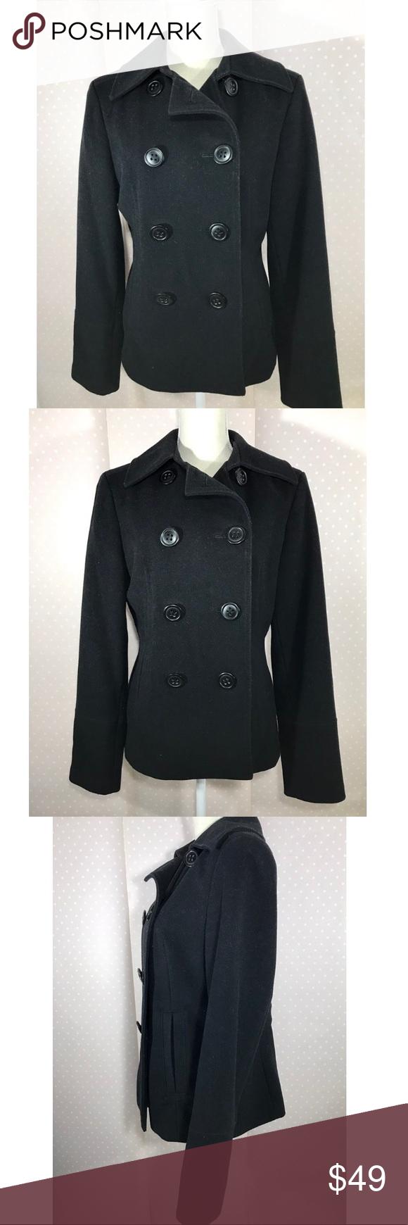 {Express} wool Cashmere blend pea coat black heavy Black