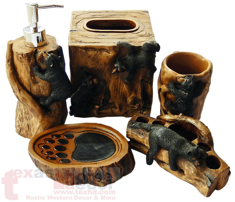 Black Bear Climbing Bathroom Accessory Set 5 Pieces Wood Look Cabin Lodge Decor | Bathroom ...