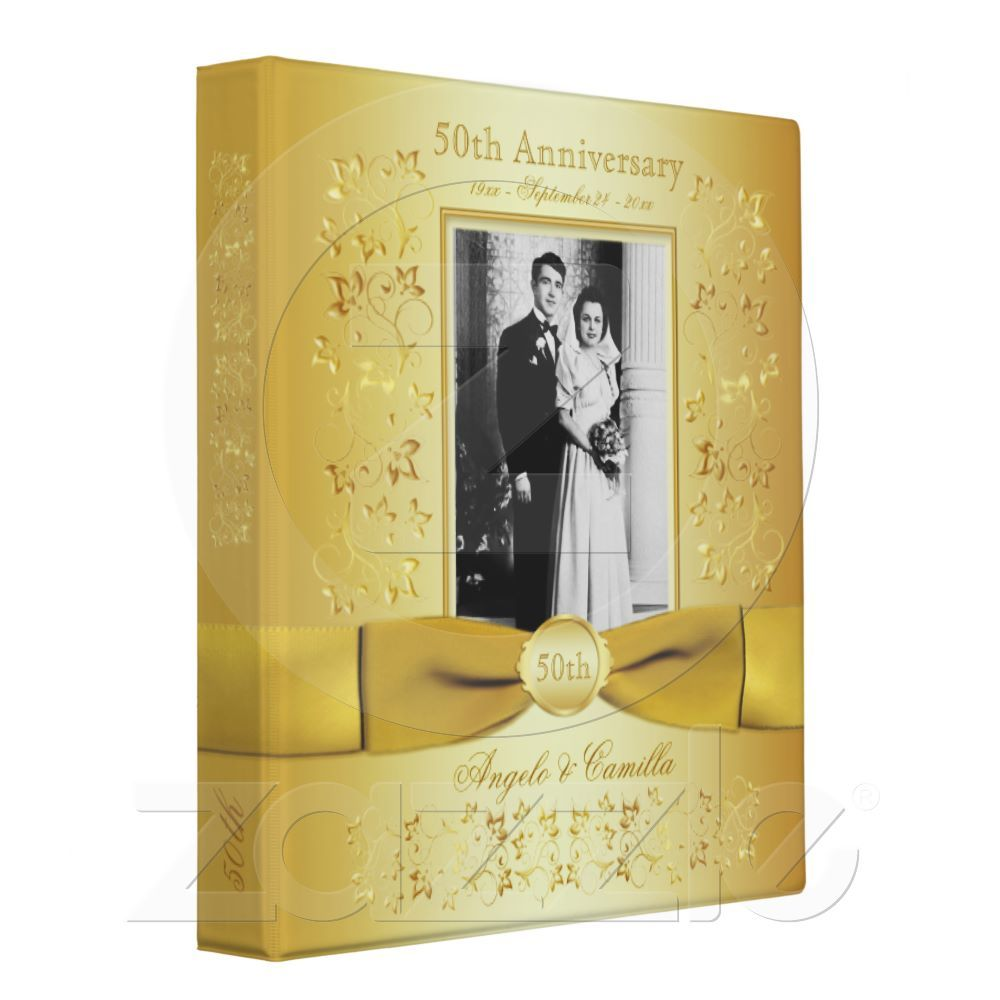golden wedding invitations%0A Gold   th Wedding Anniversary Binder with Photo