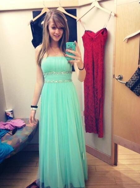 Cute Elegant Prom Dress Mint Green Long Prom Dresseshandmade