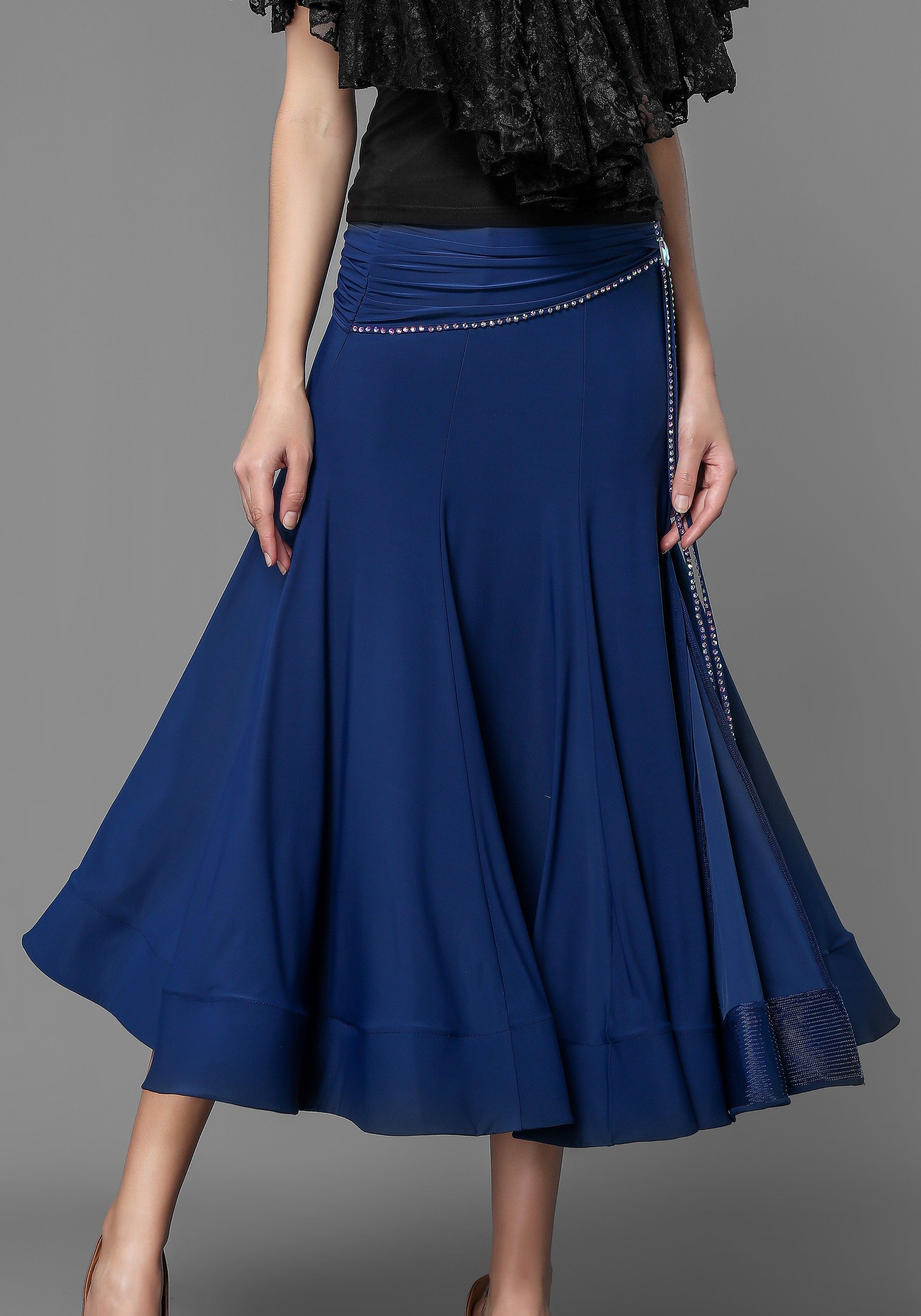 d4b44821fe84 Luxury Crepe Stoned Ballroom Smooth Skirt | Practice Wear | High ...