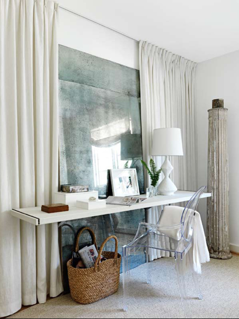 Love The Large Distressed Mirror Behind The Desk Simple And Lovely