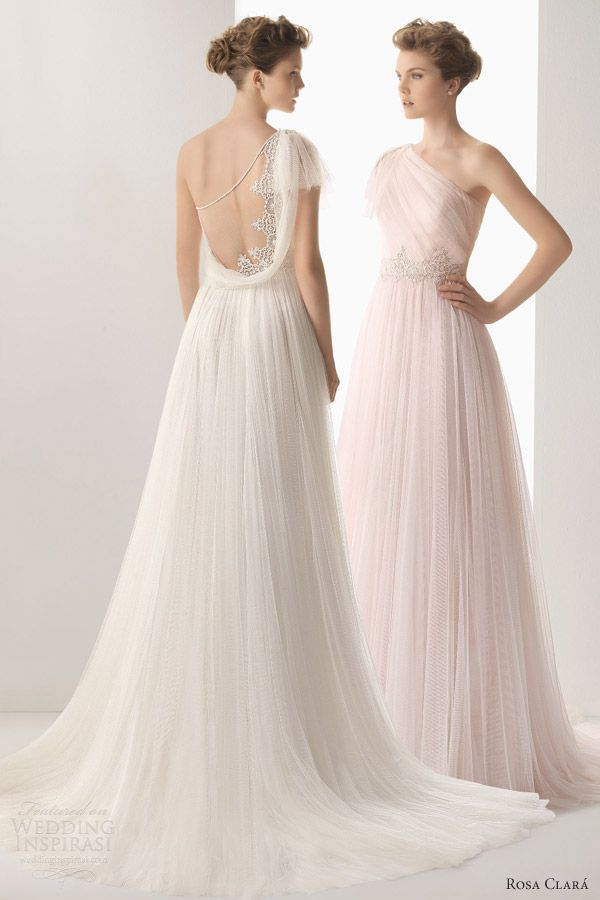 d07edf22646a1 soft by rosa clara 2014 wedding dresses umbra one shoulder gown lace back  detail Wedding Attire