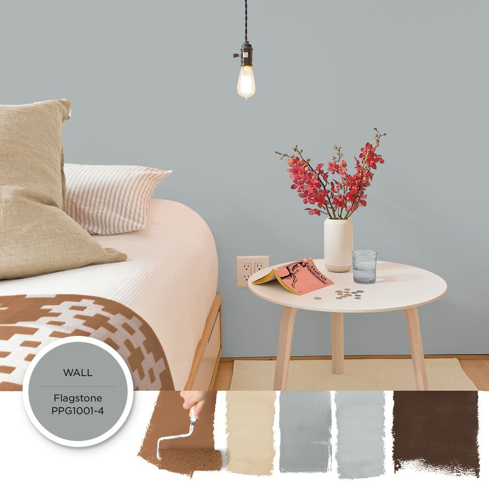 7 Great Color Palettes Surprising Bedroom Neutrals: Modern Gray Paint Color Flagstone By PPG Is Featured In