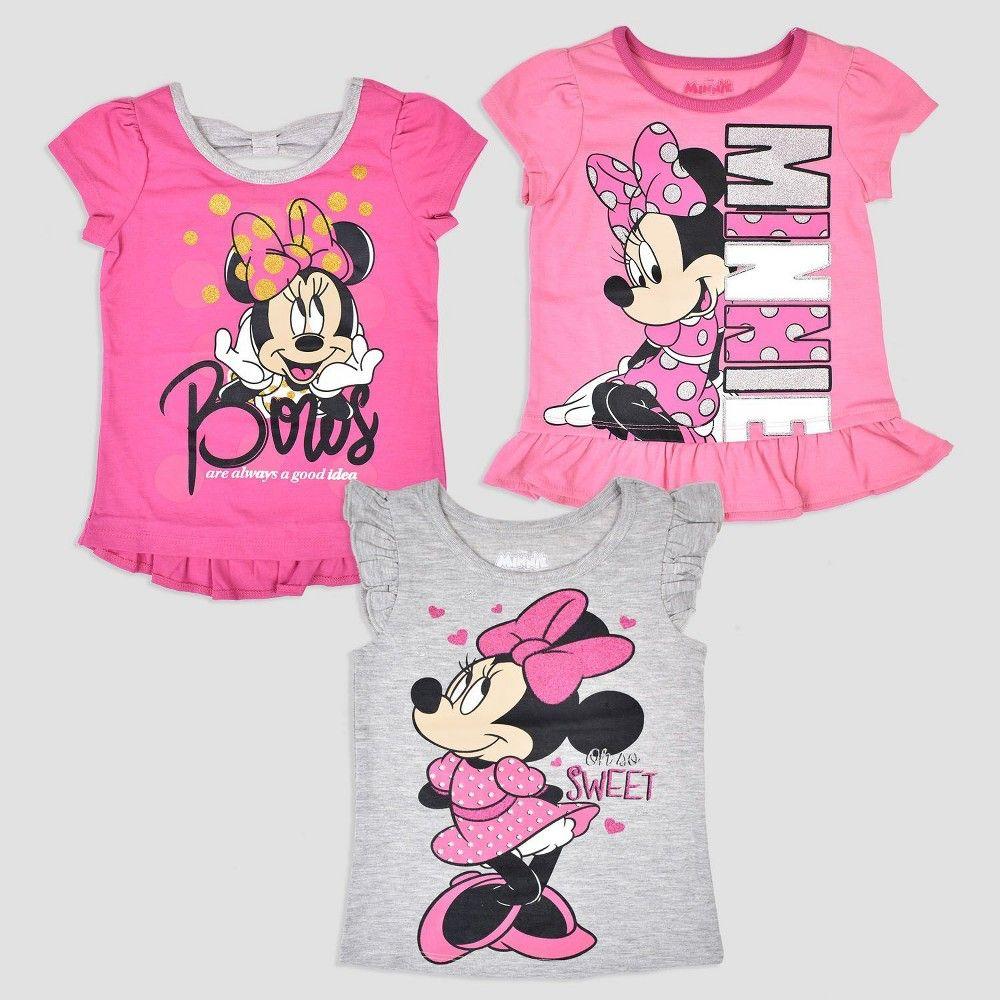 edb4fd25768 Toddler Girls  3pk Disney Mickey Mouse   Friends Minnie Mouse Short Sleeve T -Shirt - Pink Gray 2T