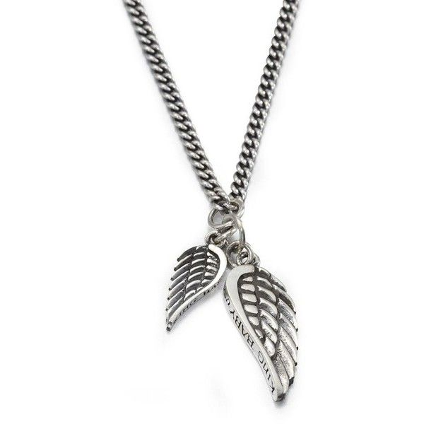 King Baby Studio Double Wing Pendant Necklace ($505) ❤ liked on Polyvore featuring men's fashion, men's jewelry, men's necklaces, apparel & accessories, silver, mens pendant necklace and mens angel wing necklace