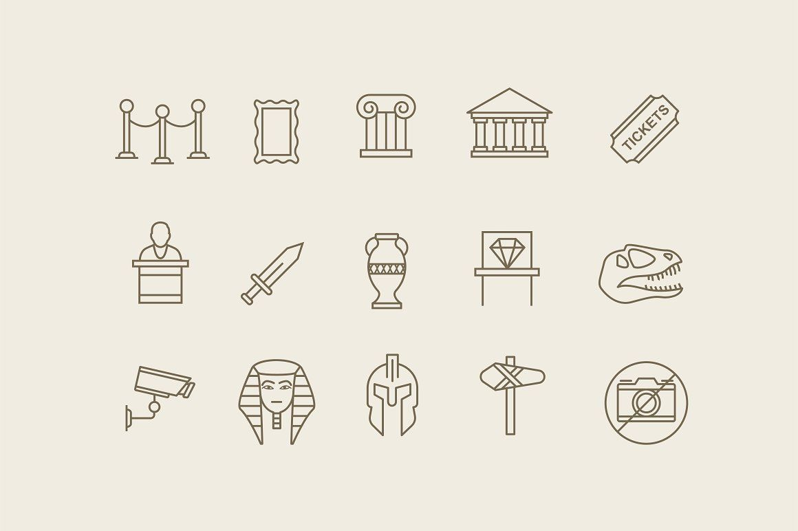 Photo of Museum Icon Pack. A gorgeous collection of museum icons. Included is a picture f…