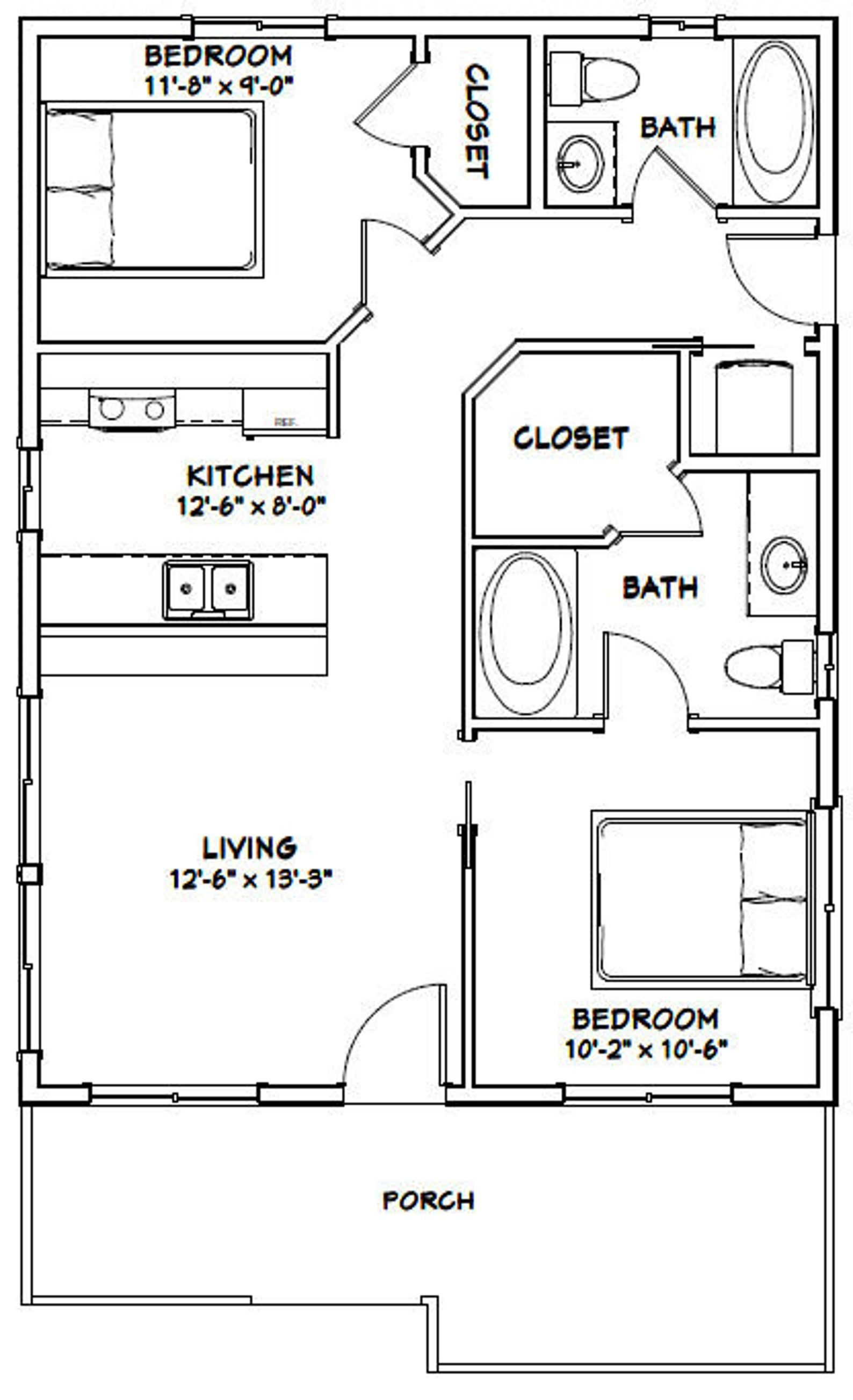 24x32 House 2Bedroom 1Bath 768 sq ft PDF Floor Plan