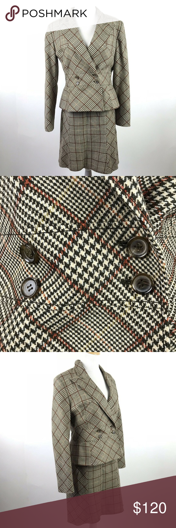 78efcf314 Valentino Skirt Suit Brown Plaid Houndstooth Wool Vintage Valentino brown  and cream 100% wool skirt