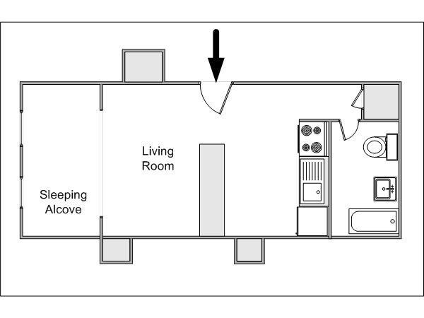 Studio Apartment Floor Plans New York new york alcove studio apartment - apartment layout (ny-14372
