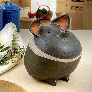 Americana Barnyard Pig Ceramic Sculpture At Modern Artisans
