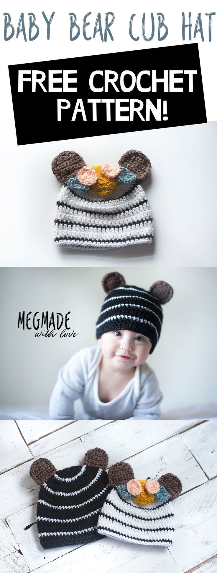 Free Crochet Pattern for a Baby Bear Cub Hat — Megmade with Love ...