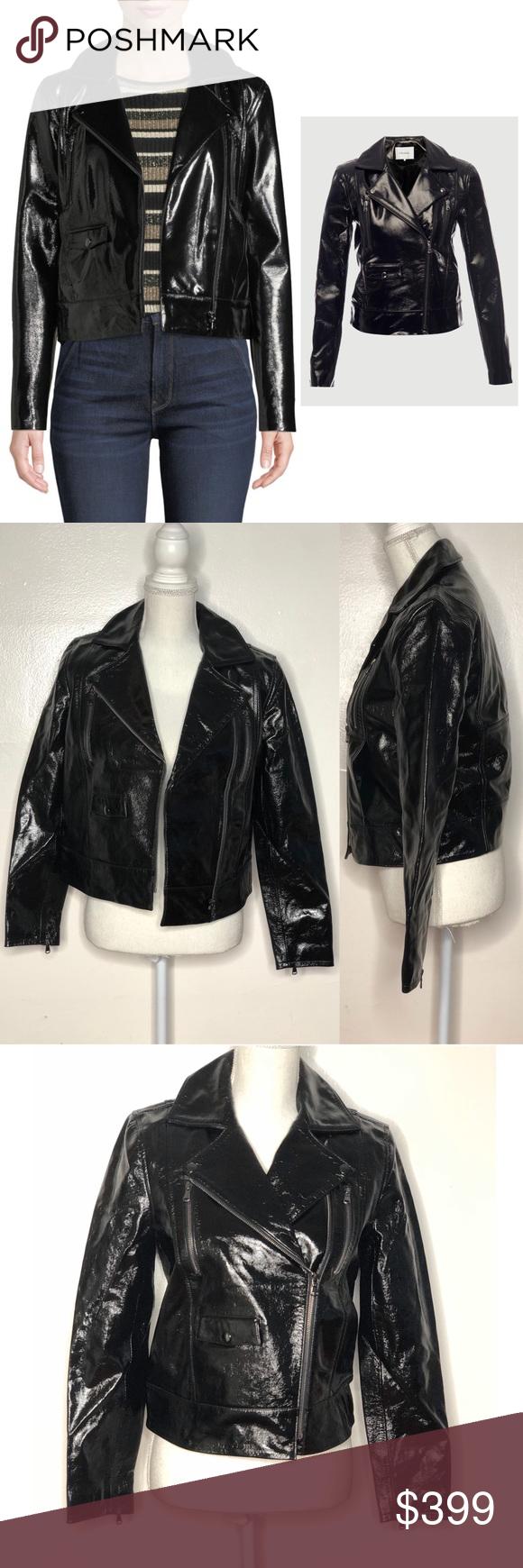 Frame Slick Cropped Shiny Leather Moto Jacket Frame Slick Moto Style Jacket In Shiny Leather Notched Lapels Off Cen Moto Jacket Leather Moto Jacket Jackets [ 1740 x 580 Pixel ]