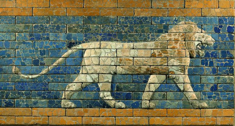 Lion relief, 604–562 B.C.  Glazed brick. Babylonia, Babylon, Processional Way. Vorderasiatisches Museum, Berlin,